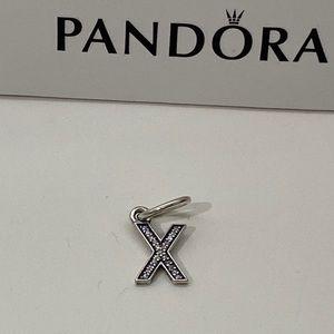 Pandora Sterling Silver Letter (X) Dangle Charm